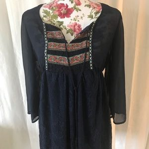 Flying tomato embroidered tunic or shift dress M